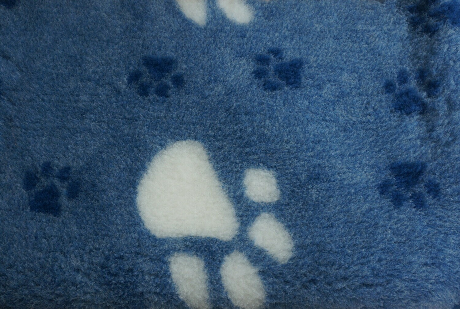 Minimum {15 x Metre Roll} : Ultra Premium - Non Slip Backing :  Big Paw : Navy with Large White and Smaller Dark Blue Paws - Ref : (6264)
