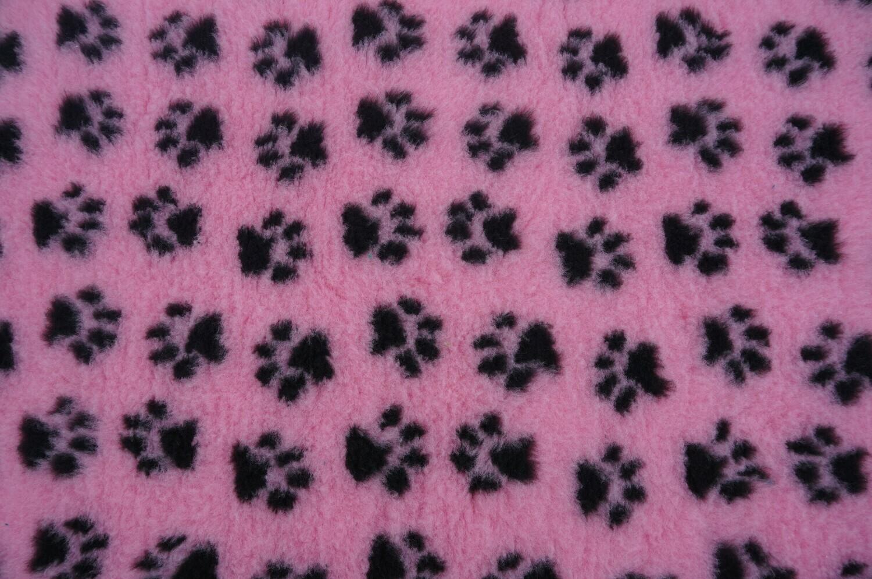 Minimum {15 x Metre Roll} : Ultra Premium - Non Slip Backing : Pink with Black Paws Ref : (6328)
