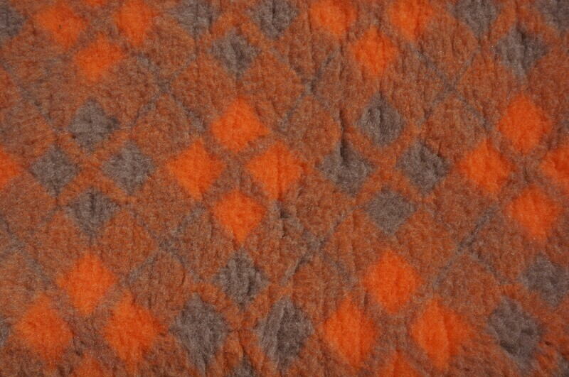 { Single Sheets }  Ultra Premium Non-Slip Backing Original Vet Bedding Fleece : Orange and Mink Diamond Tartan - Ref : (6490)