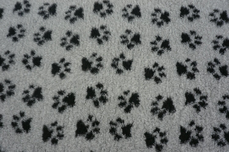 { Single Sheets }  Ultra Premium Non-Slip Backing Original Vet Bedding Fleece : Grey with Black Paws - Ref : (6332)