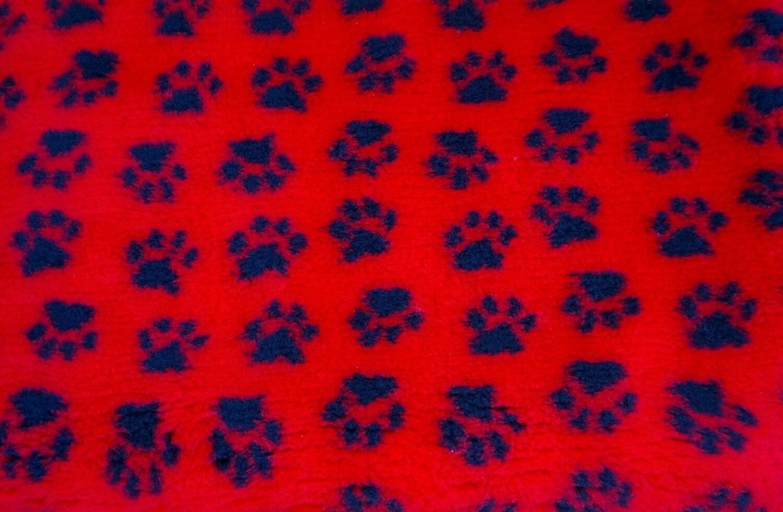 Minimum {15 x Metre Roll}  Ultra Premium Non-Slip Backing Original Vet Bedding Fleece : Red with Black Paws - Ref : (6262)