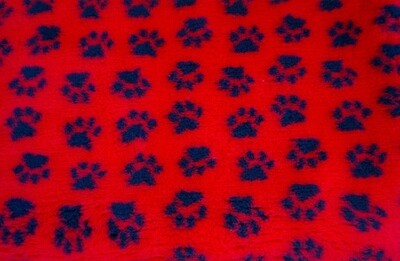 { Single Sheets }  Ultra Premium Non-Slip Backing Original Vet Bedding Fleece : Red with Black Paws - Ref : (6262)