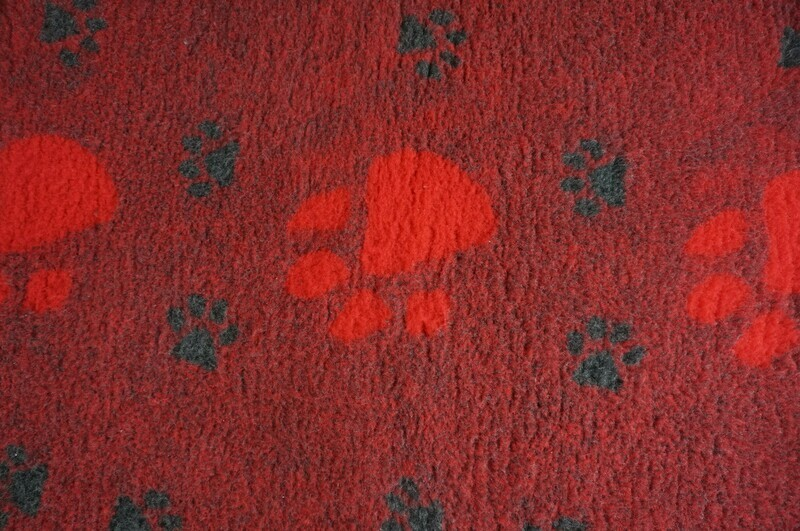 {Single Sheets} : Ultra Premium - Non-Slip Backing : Big Paw : Raspberry with Large Red and Smaller Black Paws  - Ref : (6497)