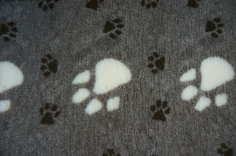 Minimum {15 Metre x Roll} : Ultra Premium - Non Slip Backing : Big Paw : Dark Grey with Large White & Smaller Black Paws - Ref : (6296)