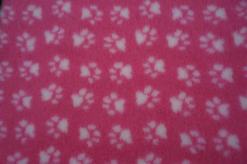 Minimum {15 x Metre Roll} : Ultra Premium - Non Slip Backing :  Pink with White Paws - Ref : (6282)