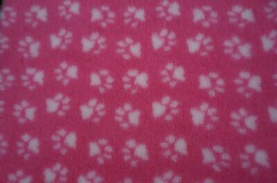 Minimum {15 x Metre Roll} : Ultra Premium - Non Slip Backing :  Pink with White Paws - Ref : (6282)