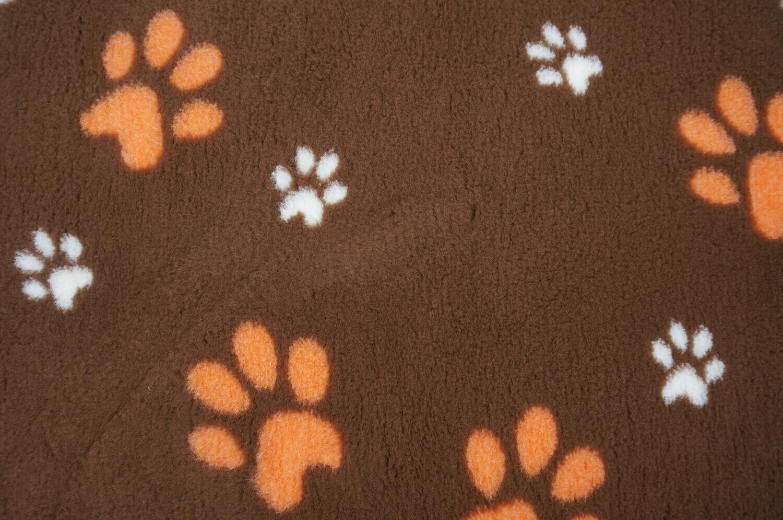 Minimum {15 x Metre Roll}  Ultra Premium Non-Slip Backing Original Vet Bedding Fleece : BP : Brown with Large Orange and Smaller White Paws - Ref : (6346)