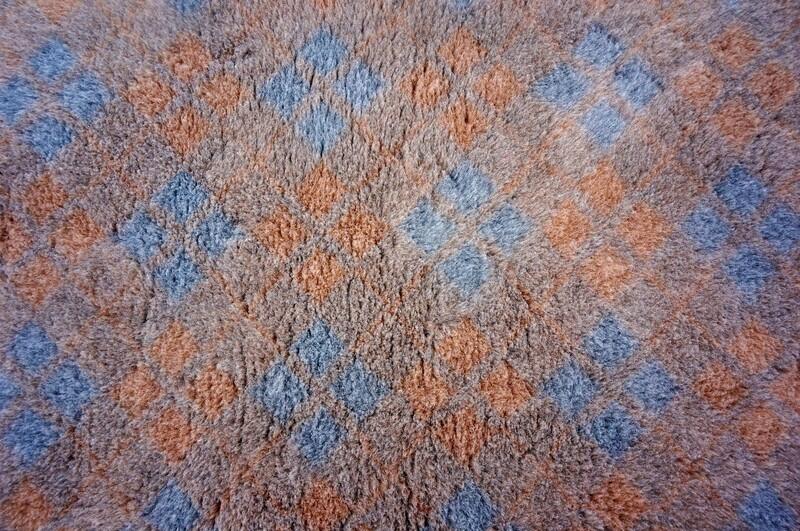 (Single Sheets) Premium - Non Slip Backing : Grey / Blue & Mink  Diamond Tartan - Ref : (6505)
