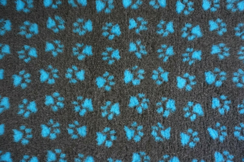Minimum {15 x Metre Roll}  Ultra Premium Non-Slip Backing Original Vet Bedding Fleece : Charcoal with Teal Blue Paws (6380)