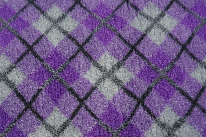 Minimum {15 x Metre Roll(s) }  Ultra Premium Non-Slip Backing Original Vet Bedding Fleece : Purple and Grey Diamond Tartan - Ref : (6340)