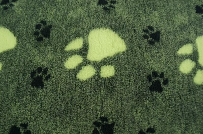 Minimum {15 x Metre Roll} : Ultra Premium - Non Slip Backing :   BP : Green with Large Cream & Small Black Paws - Ref : (6378)
