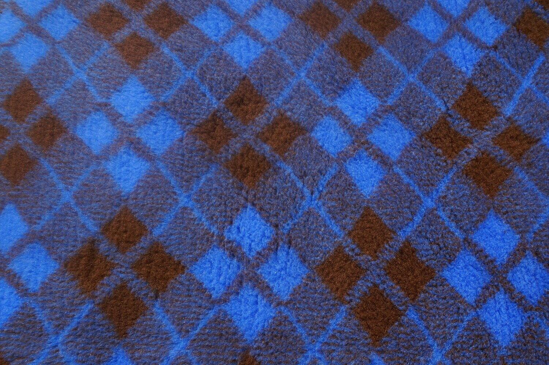 Minimum {15 x Metre Roll} : Ultra Premium - Non Slip Backing :  Two Tone Blue & Brown Diamond Tartan - Ref : (6484)