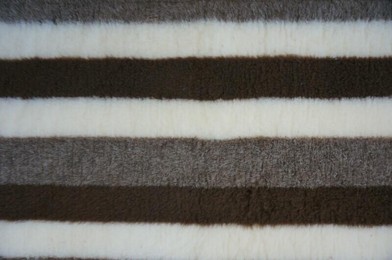 { Single Sheets }  Ultra Premium Non-Slip Backing Original Vet Bedding Fleece : Brown & Fawn Stripes - Ref : (6276)