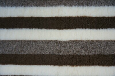 { Single Sheets }  Ultra Premium Non-Slip Backing Original Vet Bedding Fleece : Brown & Fawn Stripes - Ref : (6276)