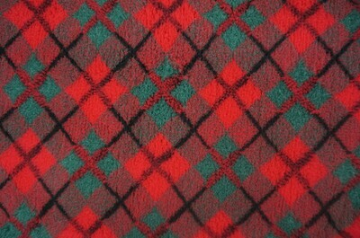 (Single Sheets) Premium - Non Slip Backing : Red & Green Diamond Tartan - Ref : (6316)