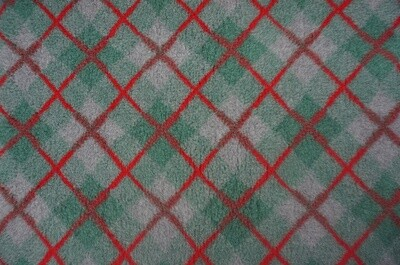 (Single Sheets) Premium - Non Slip Backing : Green / Grey and Red  Diamond Tartan - Ref : (6500)