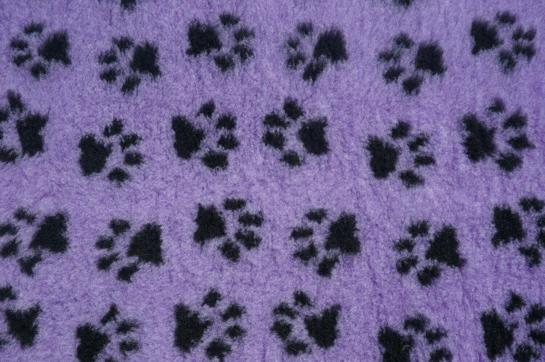 "{Single Sheet}  Size : 76cm x 50cm (30"" x 20"") Ultra Premium Non-Slip Backing Original Vet Bedding Fleece : Lilac with Black Paws (6350)"