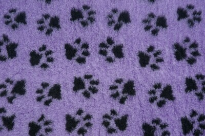 "{Single Sheet}  Size : 76cm x 50cm (30"" x 20"") Ultra Premium Non-Slip Backing Original Vet Bedding Fleece : Lilac with Black Paws (6350)"