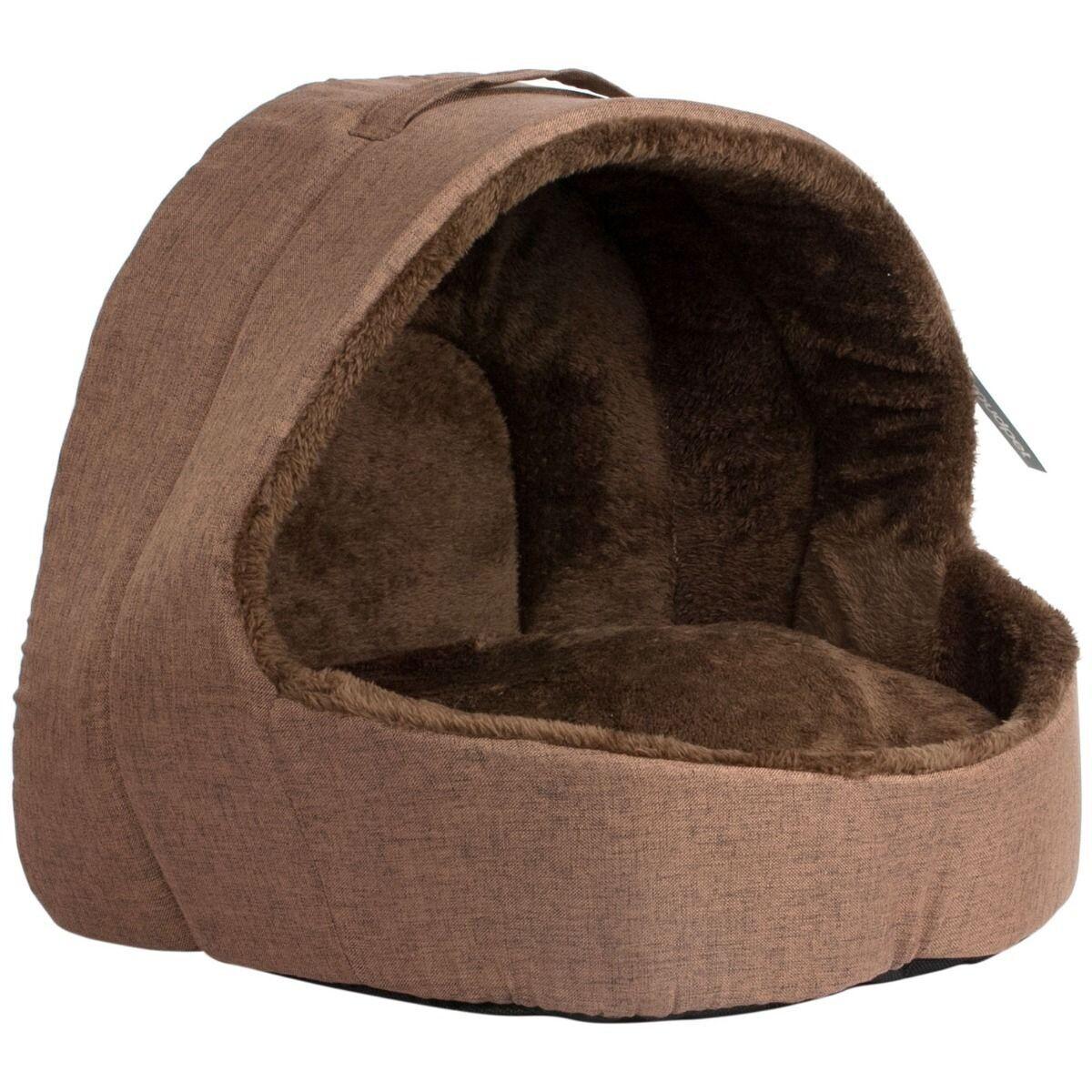 Soft Fleece Cat Igloo Bed - Brown - Ref (6378)