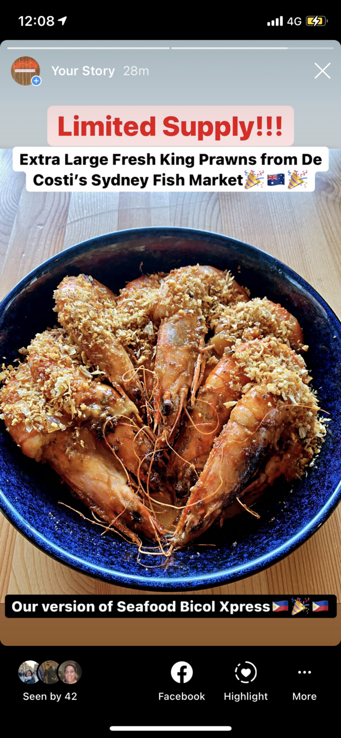 Extra Large King Prawns - Garlic & Coconut Curry *Good for 2*