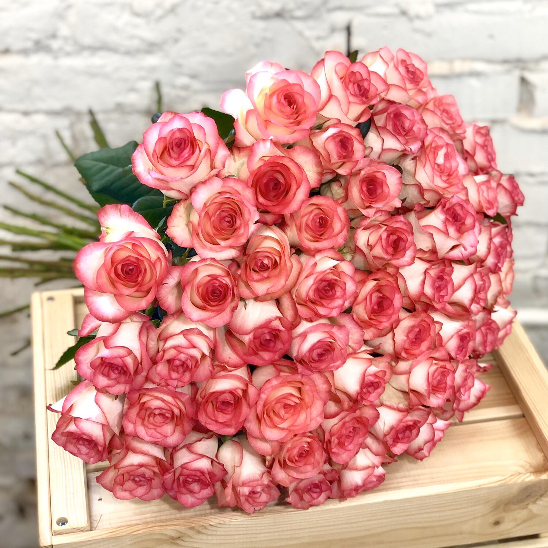Букет из 101 розовой розы Джумилия