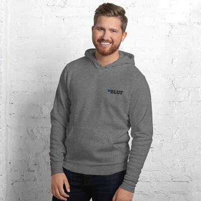 BLUF hoodie, black logo