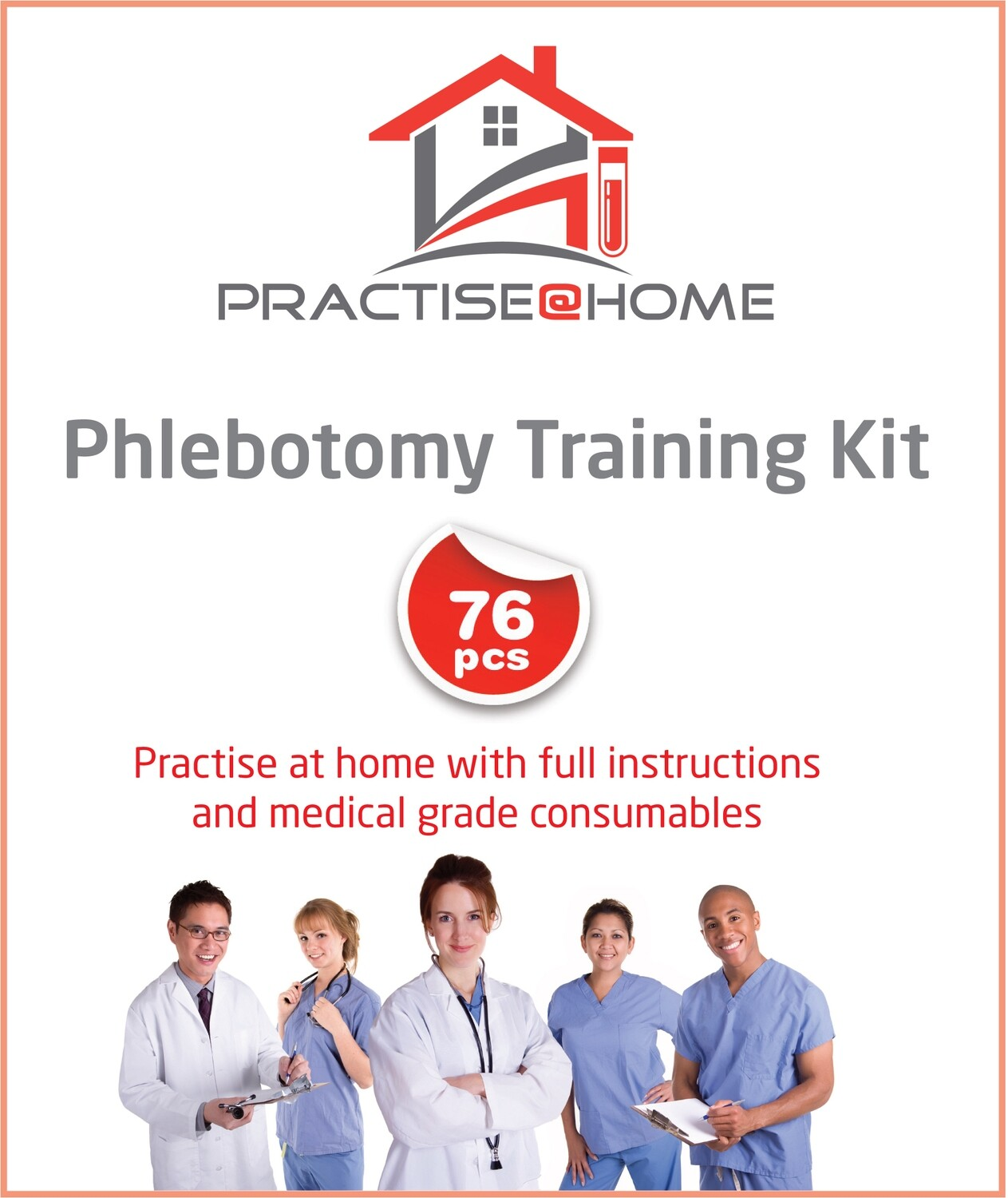 PHLEBOTOMY TRAINING KIT - Practise@Home with Mini-Arm Trainer and full instructions