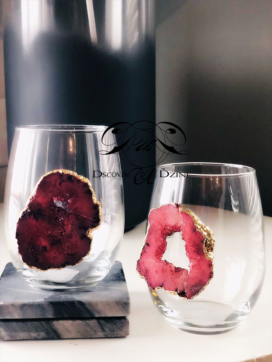 Red Rock Crystal Stemless Wine Glasses: Set of Two