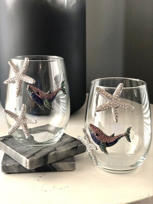 Starfish and Whale Crystal Stemless Wineglasses: Set of Two