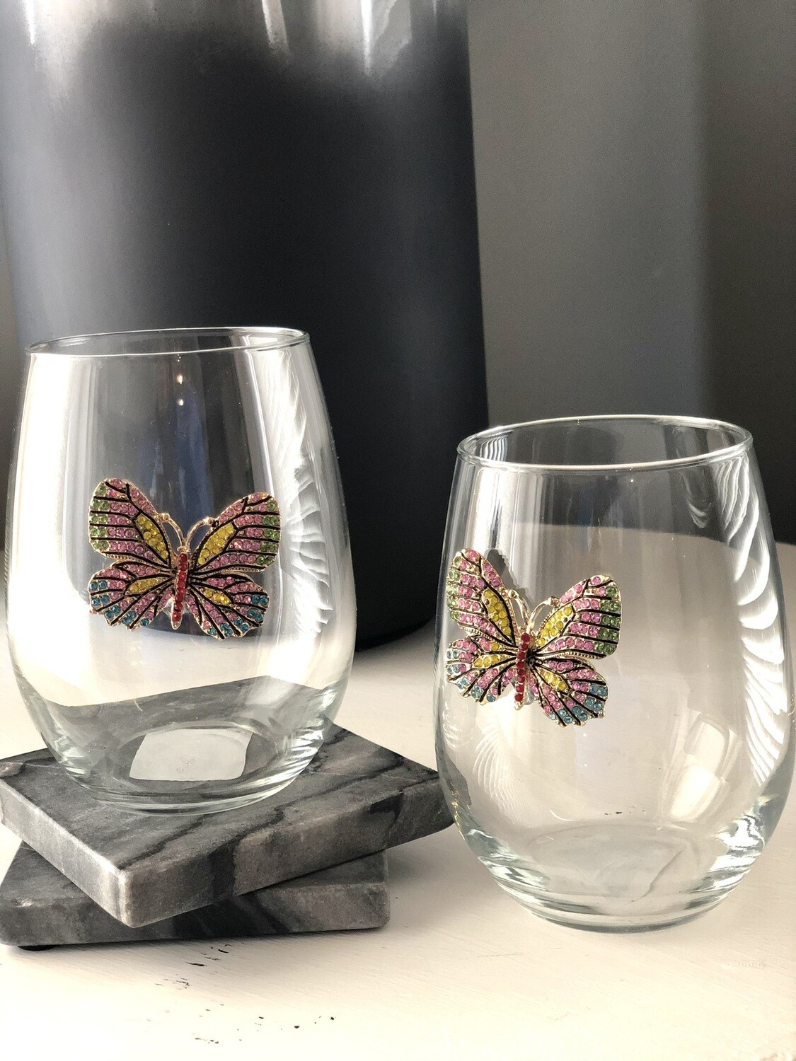 Springtime Crystal Papillon Stemless Wineglasses: Set of Two