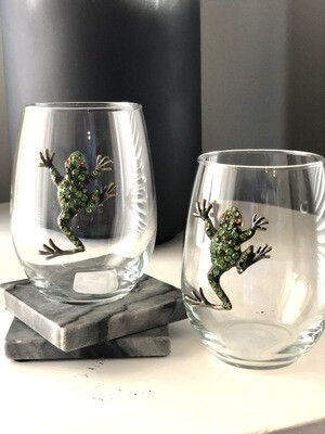 Frog Crystal Stemless Wineglasses: Set of Two