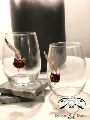 Fox Crystal Stemless Wineglasses: Set of Two