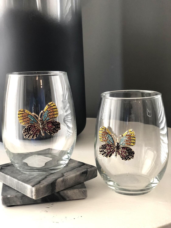 Golden Papillon Stemless Wineglasses: Set of Two