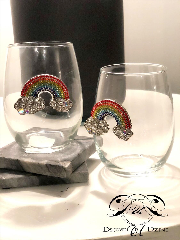 Rainbow Stemless Wineglasses: Set of