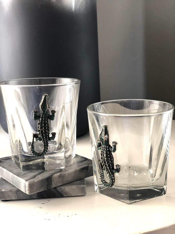 Green Gator Bourbon Glasses: Set of Two