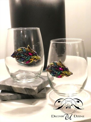 Multi-Colored Wolf Stemless Wineglasses: Set of Two