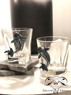 Blue Coy Fish Bourbon Glasses: Set of Two