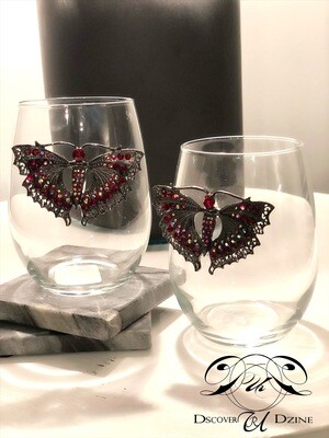 Enlarged Maroon Papillon Stemless Wineglasses: Set of Two