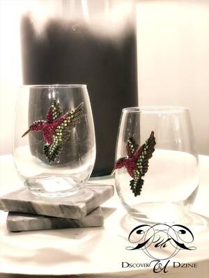 Hummingbird Stemless Wineglasses: Set of Two