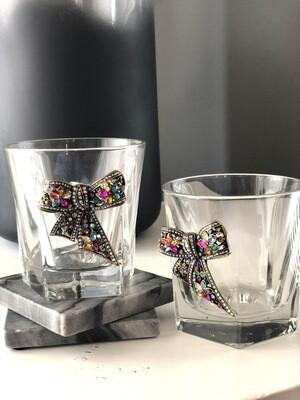 Flirty Bow Tie Bourbon Glasses: Set of Two