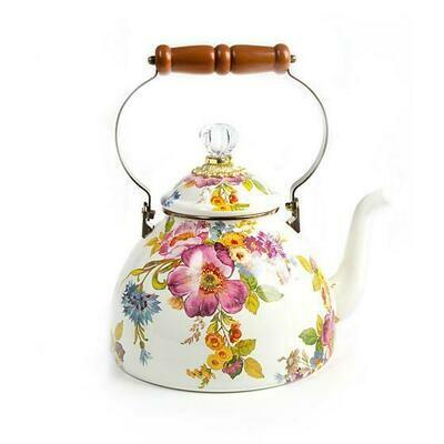 Flower Market 3qt. Tea Kettle - White