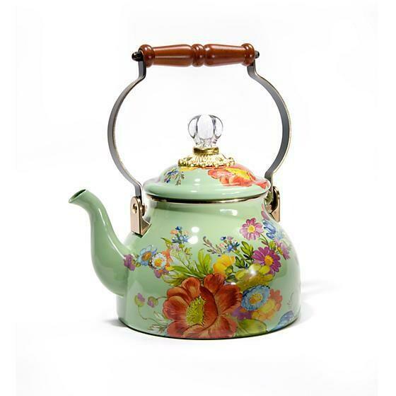Flower Market 2 Quart Tea Kettle Green