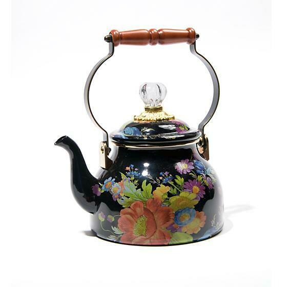 Flower Market 2 Quart Tea Kettle Black