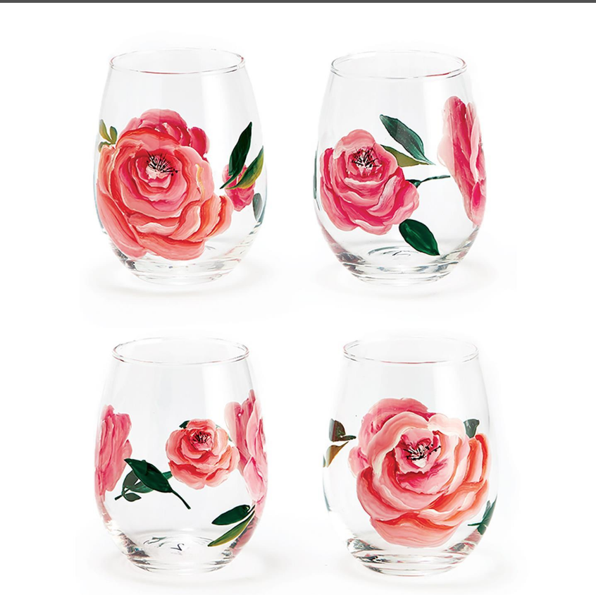 Roses Wine Glass