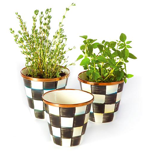 Courtly Check Enamel Herb Pots - Set of 3