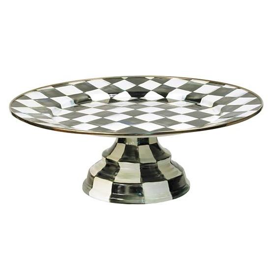Courtly Check Enamel Pedestal Platter - Large