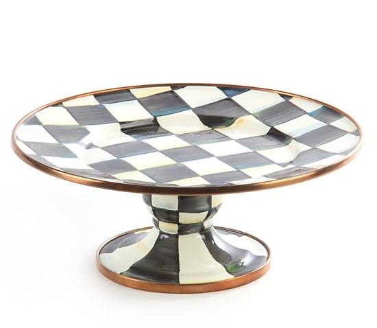 Courtly Check Enamel Pedestal Platter - Mini