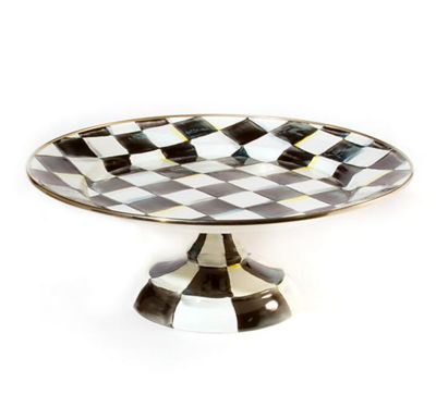 Courtly Check Enamel Pedestal Platter - Small
