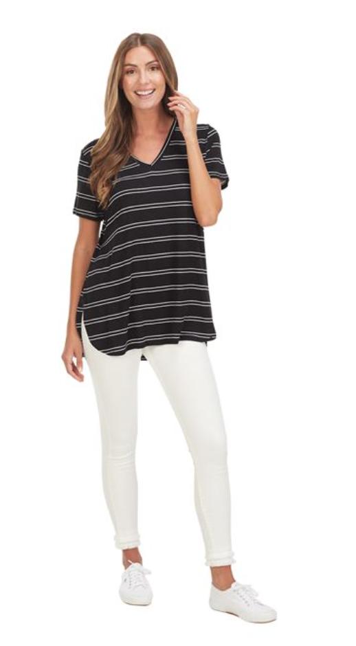 Dani T-Shirt Black & White Stripe