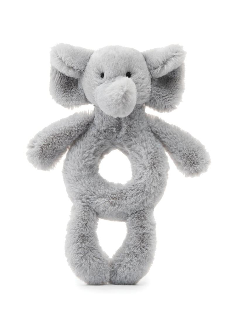 Bashful Grey Elephant Ring Rattle #BE4GR